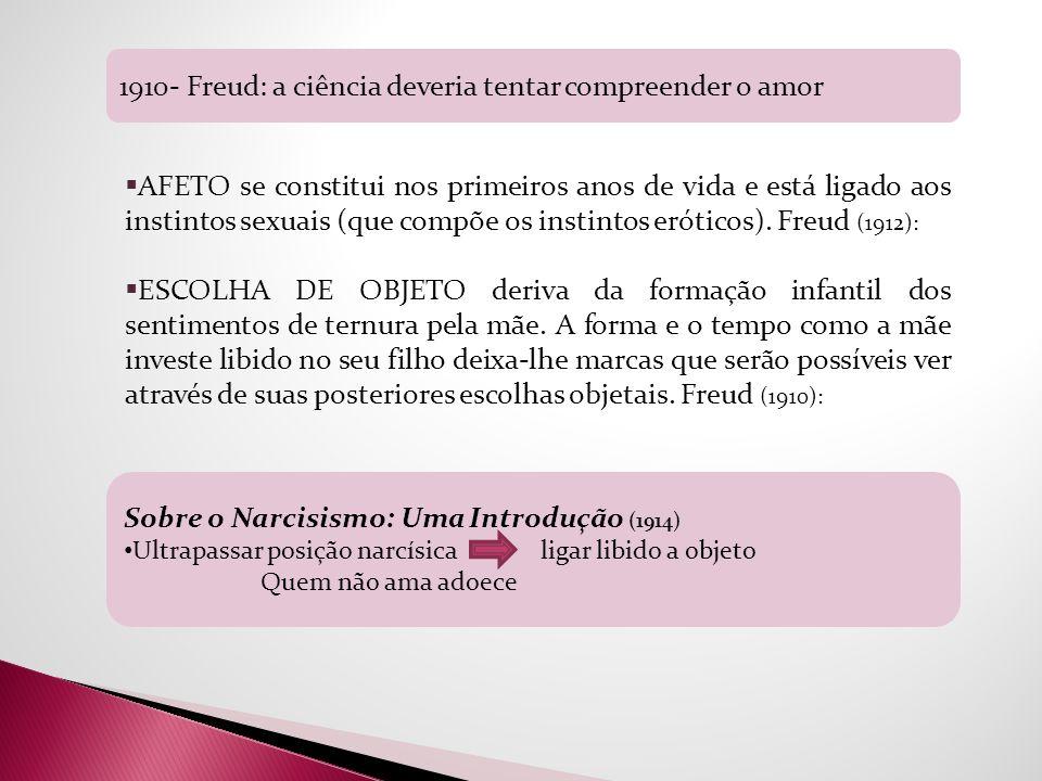 Sobre o Narcisismo: Uma Introdução (1914) Ultrapassar posição narcísica ligar libido a objeto Quem não ama adoece 1910- Freud: a ciência deveria tenta