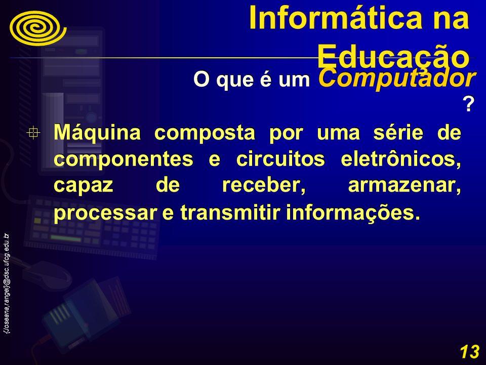 {Joseana,rangel}@dsc.ufcg.edu.br 13 Máquina composta por uma série de componentes e circuitos eletrônicos, capaz de receber, armazenar, processar e tr