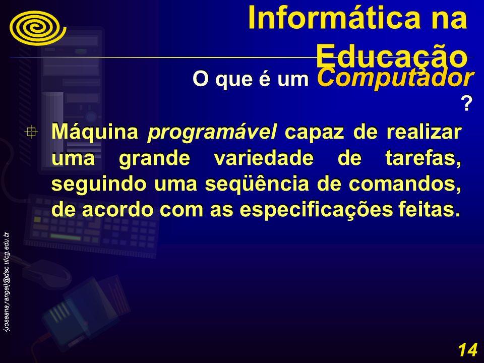 {Joseana,rangel}@dsc.ufcg.edu.br 14 Máquina programável capaz de realizar uma grande variedade de tarefas, seguindo uma seqüência de comandos, de acor