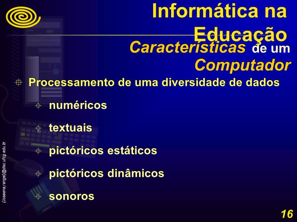 {Joseana,rangel}@dsc.ufcg.edu.br 16 Processamento de uma diversidade de dados numéricos textuais pictóricos estáticos pictóricos dinâmicos sonoros Pro