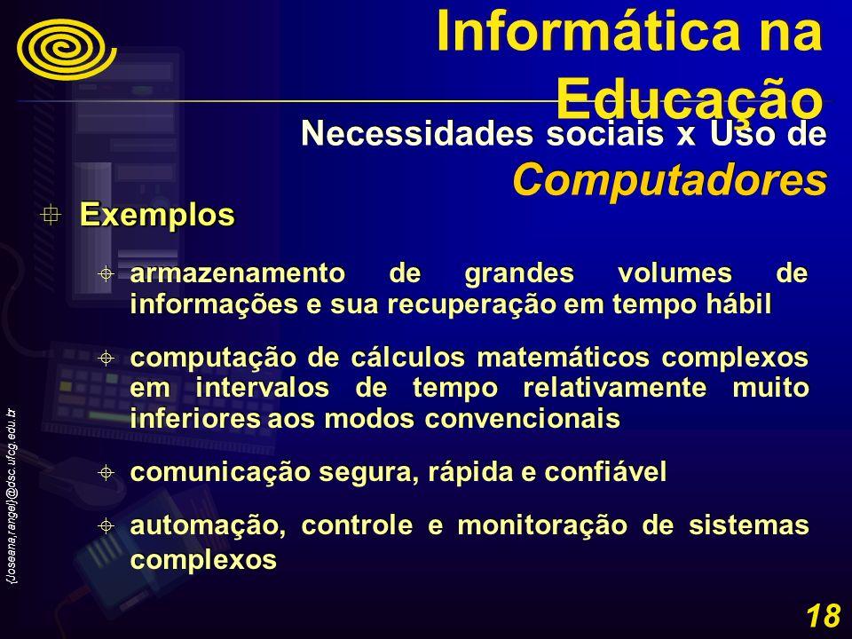 {Joseana,rangel}@dsc.ufcg.edu.br 18 Exemplos Exemplos armazenamento de grandes volumes de informações e sua recuperação em tempo hábil computação de c