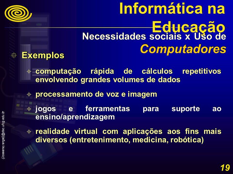 {Joseana,rangel}@dsc.ufcg.edu.br 19 Exemplos Exemplos computação rápida de cálculos repetitivos envolvendo grandes volumes de dados processamento de v