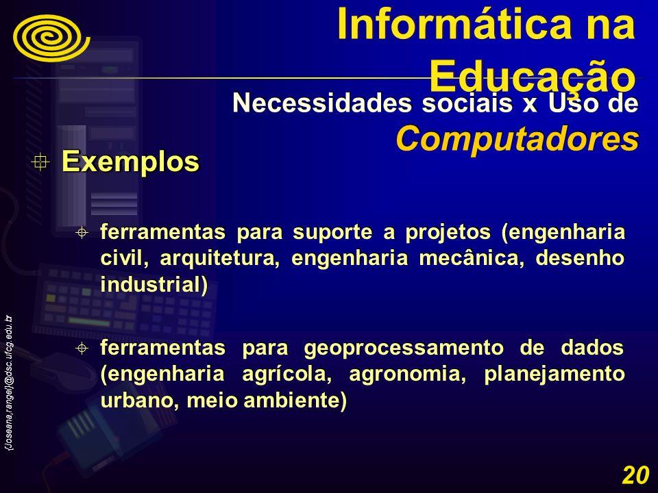 {Joseana,rangel}@dsc.ufcg.edu.br 20 Exemplos Exemplos ferramentas para suporte a projetos (engenharia civil, arquitetura, engenharia mecânica, desenho