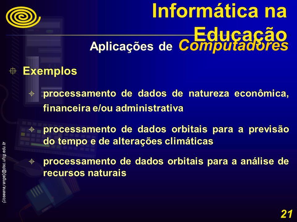 {Joseana,rangel}@dsc.ufcg.edu.br 21 Exemplos processamento de dados de natureza econômica, financeira e/ou administrativa processamento de dados orbit