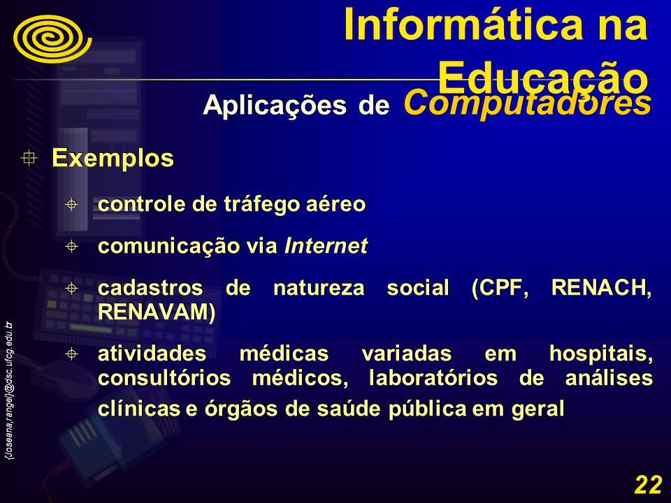 {Joseana,rangel}@dsc.ufcg.edu.br 22 Exemplos controle de tráfego aéreo comunicação via Internet cadastros de natureza social (CPF, RENACH, RENAVAM) at