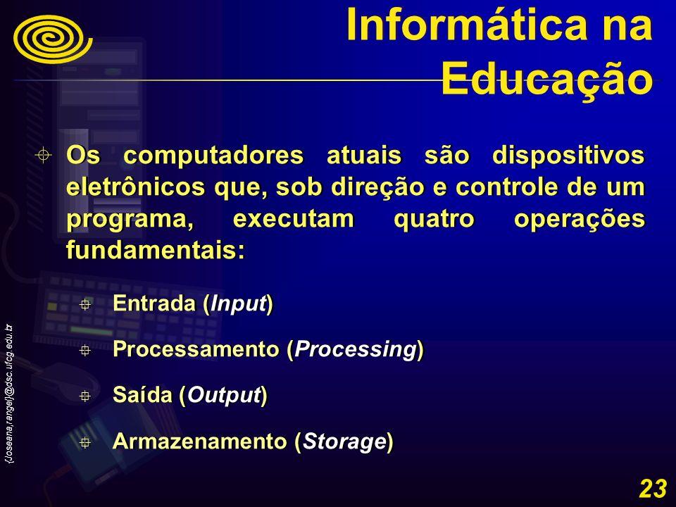 {Joseana,rangel}@dsc.ufcg.edu.br 23 Os computadores atuais são dispositivos eletrônicos que, sob direção e controle de um programa, executam quatro op