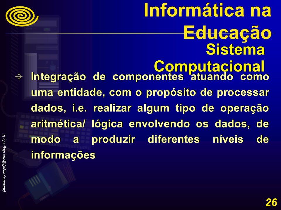 {Joseana,rangel}@dsc.ufcg.edu.br 26 Integração de componentes atuando como uma entidade, com o propósito de processar dados, i.e. realizar algum tipo