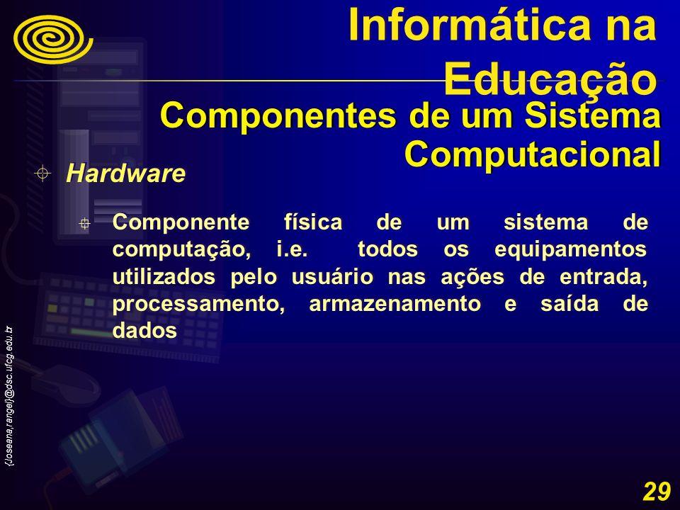 {Joseana,rangel}@dsc.ufcg.edu.br 29 Hardware Componente física de um sistema de computação, i.e. todos os equipamentos utilizados pelo usuário nas açõ