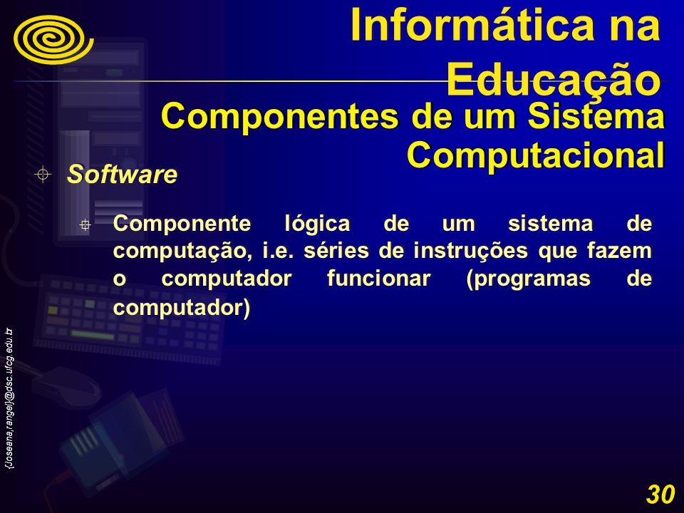 {Joseana,rangel}@dsc.ufcg.edu.br 30 Software Componente lógica de um sistema de computação, i.e. séries de instruções que fazem o computador funcionar