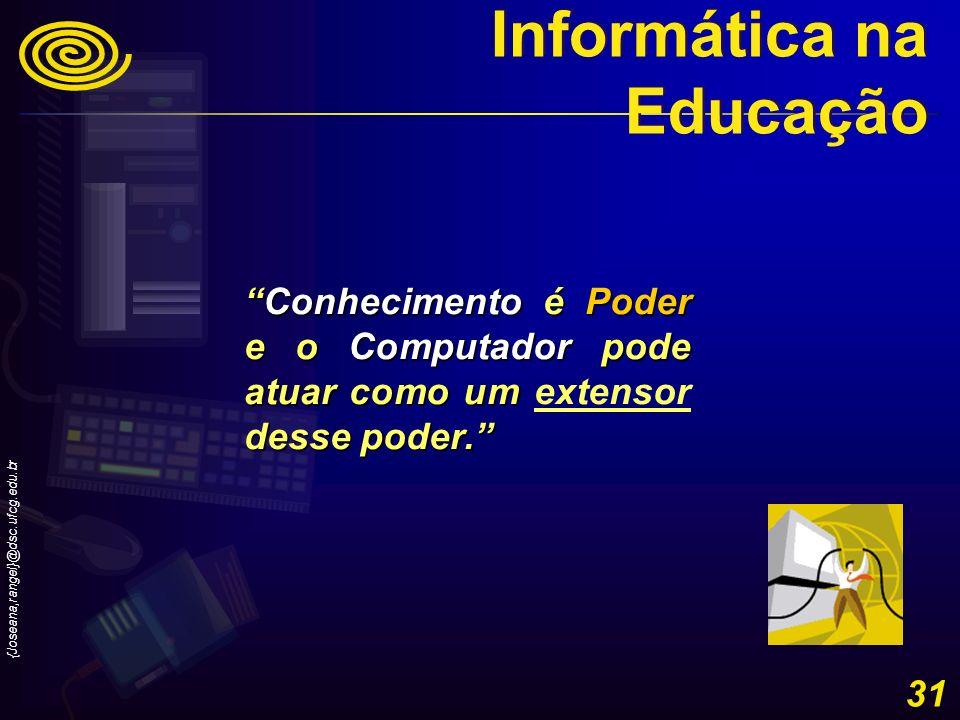 {Joseana,rangel}@dsc.ufcg.edu.br 31 Conhecimento é Poder e o Computador pode atuar como um desse poder.Conhecimento é Poder e o Computador pode atuar