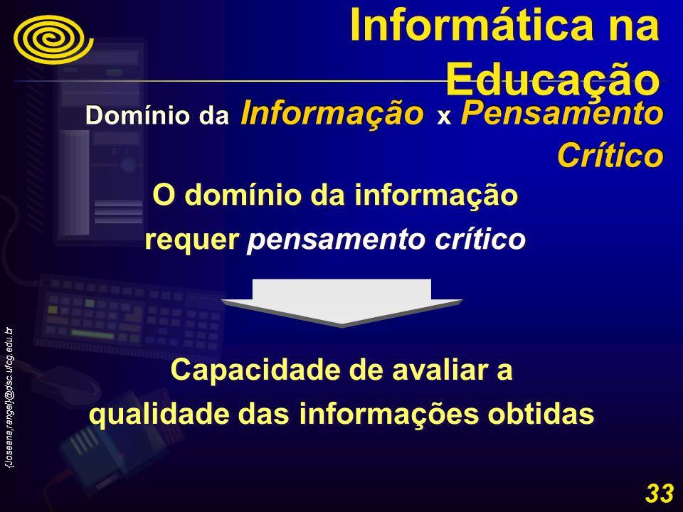 {Joseana,rangel}@dsc.ufcg.edu.br 33 O domínio da informação requer pensamento crítico O domínio da informação requer pensamento crítico Capacidade de