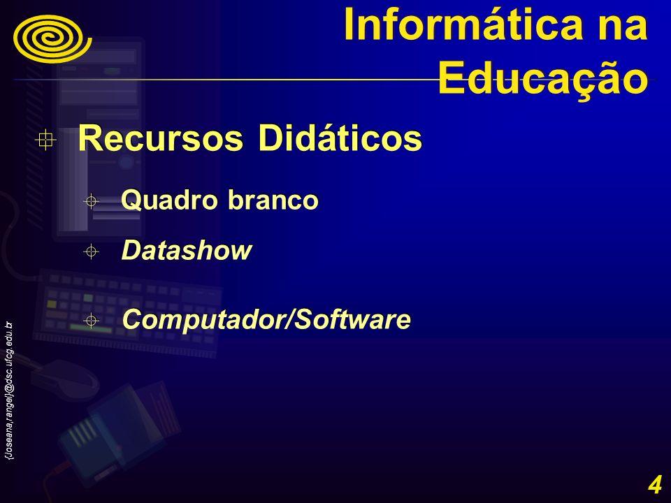 {Joseana,rangel}@dsc.ufcg.edu.br 4 Recursos Didáticos Quadro branco Datashow Computador/Software Recursos Didáticos Quadro branco Datashow Computador/