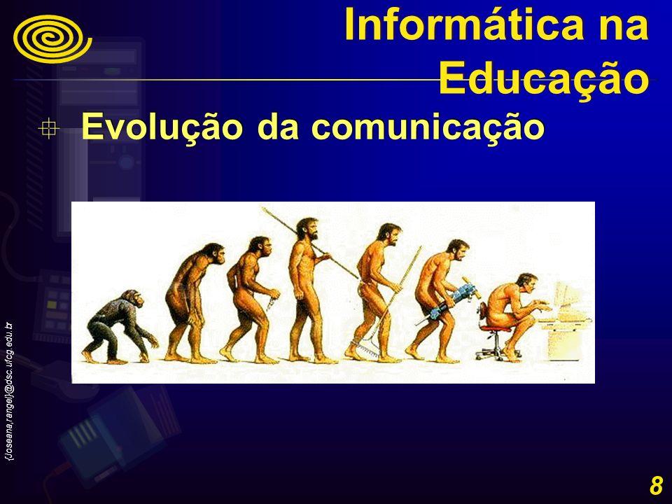 {Joseana,rangel}@dsc.ufcg.edu.br 8 Evolução da comunicação Informática na Educação