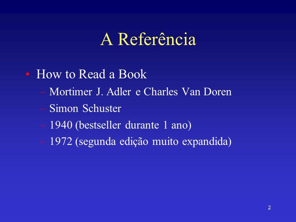 2 A Referência How to Read a Book –Mortimer J. Adler e Charles Van Doren –Simon Schuster –1940 (bestseller durante 1 ano) –1972 (segunda edição muito