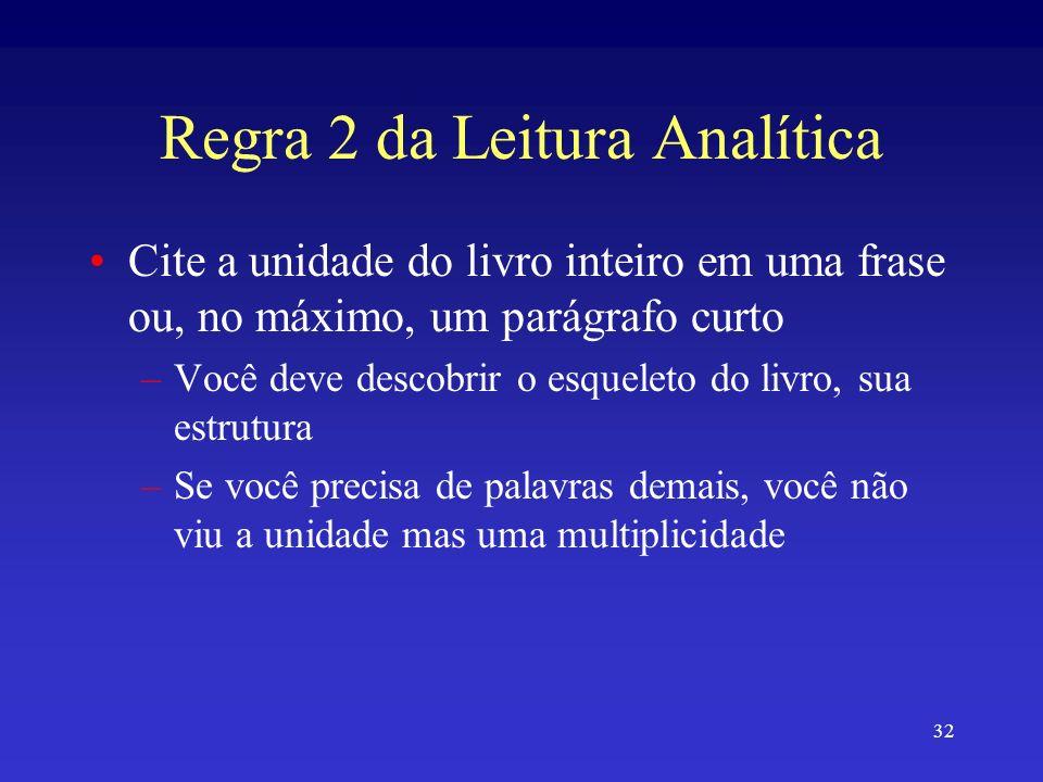 32 Regra 2 da Leitura Analítica Cite a unidade do livro inteiro em uma frase ou, no máximo, um parágrafo curto –Você deve descobrir o esqueleto do liv