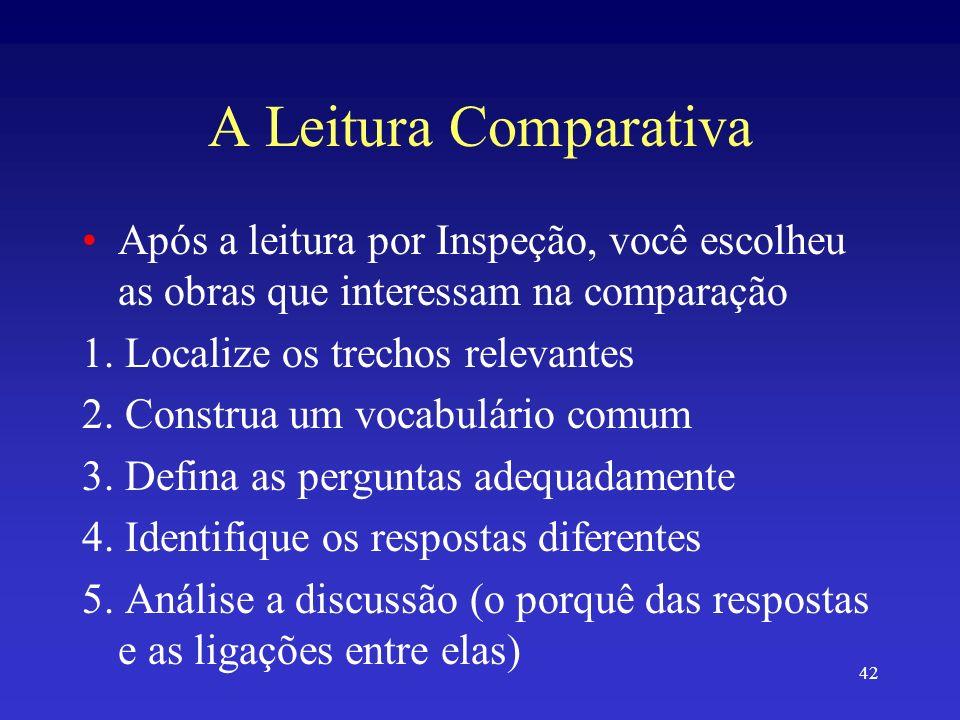 42 A Leitura Comparativa Após a leitura por Inspeção, você escolheu as obras que interessam na comparação 1. Localize os trechos relevantes 2. Constru