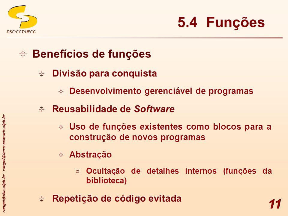 rangel@dsc.ufpb.br rangel@lmrs-semarh.ufpb.br DSC/CCT/UFCG 11 5.4 Funções Benefícios de funções Divisão para conquista Desenvolvimento gerenciável de