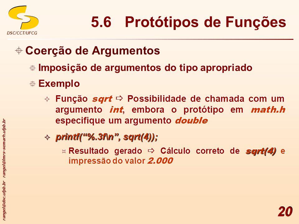 rangel@dsc.ufpb.br rangel@lmrs-semarh.ufpb.br DSC/CCT/UFCG 20 5.6 Protótipos de Funções Coerção de Argumentos Imposição de argumentos do tipo apropria