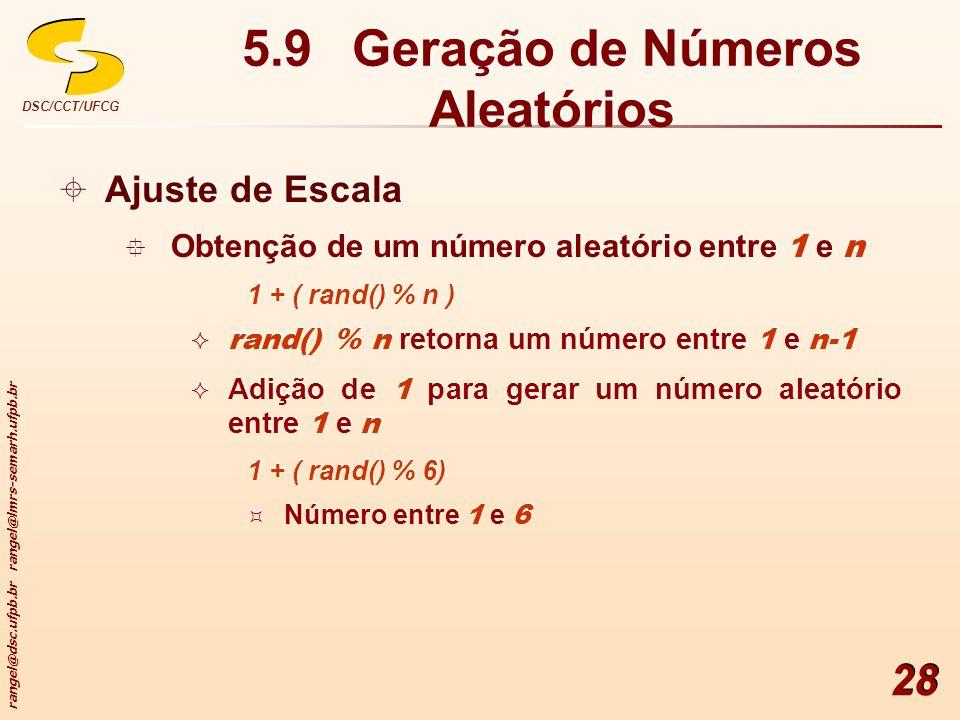 rangel@dsc.ufpb.br rangel@lmrs-semarh.ufpb.br DSC/CCT/UFCG 28 5.9 Geração de Números Aleatórios Ajuste de Escala Obtenção de um número aleatório entre