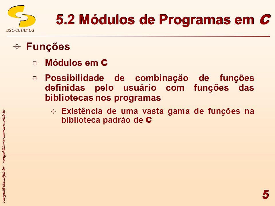 rangel@dsc.ufpb.br rangel@lmrs-semarh.ufpb.br DSC/CCT/UFCG 5 Funções Módulos em C Possibilidade de combinação de funções definidas pelo usuário com fu