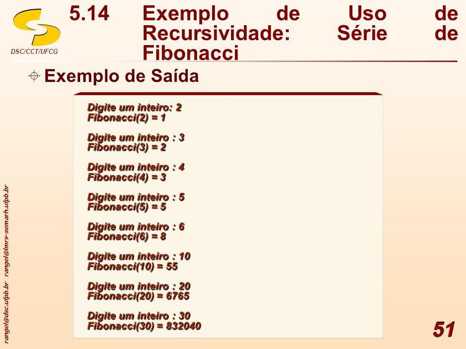 rangel@dsc.ufpb.br rangel@lmrs-semarh.ufpb.br DSC/CCT/UFCG 51 Digite um inteiro: 2 Fibonacci(2) = 1 Digite um inteiro : 3 Fibonacci(3) = 2 Digite um i