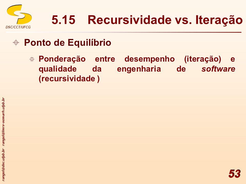 rangel@dsc.ufpb.br rangel@lmrs-semarh.ufpb.br DSC/CCT/UFCG 53 5.15Recursividade vs. Iteração Ponto de Equilíbrio Ponderação entre desempenho (iteração