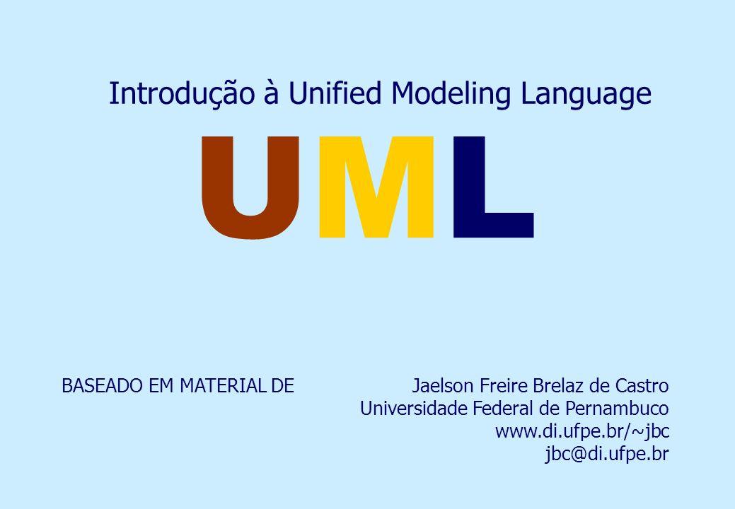 UML Atributos Um atributo representa alguma propriedade do que está sendo modelado, que é compartilhada por todos os objetos da classe Os atributos descrevem os dados contidos nas instâncias de uma classe Em um momento dado, um objeto de uma classe conterá valores para todos os atributos descritos na sua classe