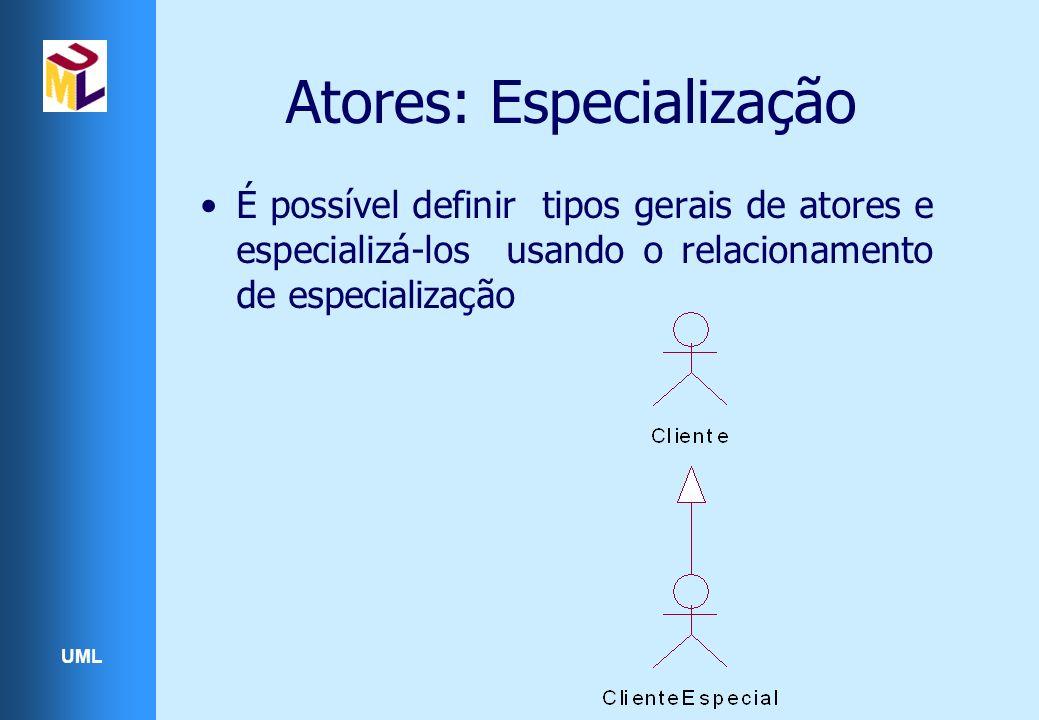UML Atores: Especialização É possível definir tipos gerais de atores e especializá-los usando o relacionamento de especialização