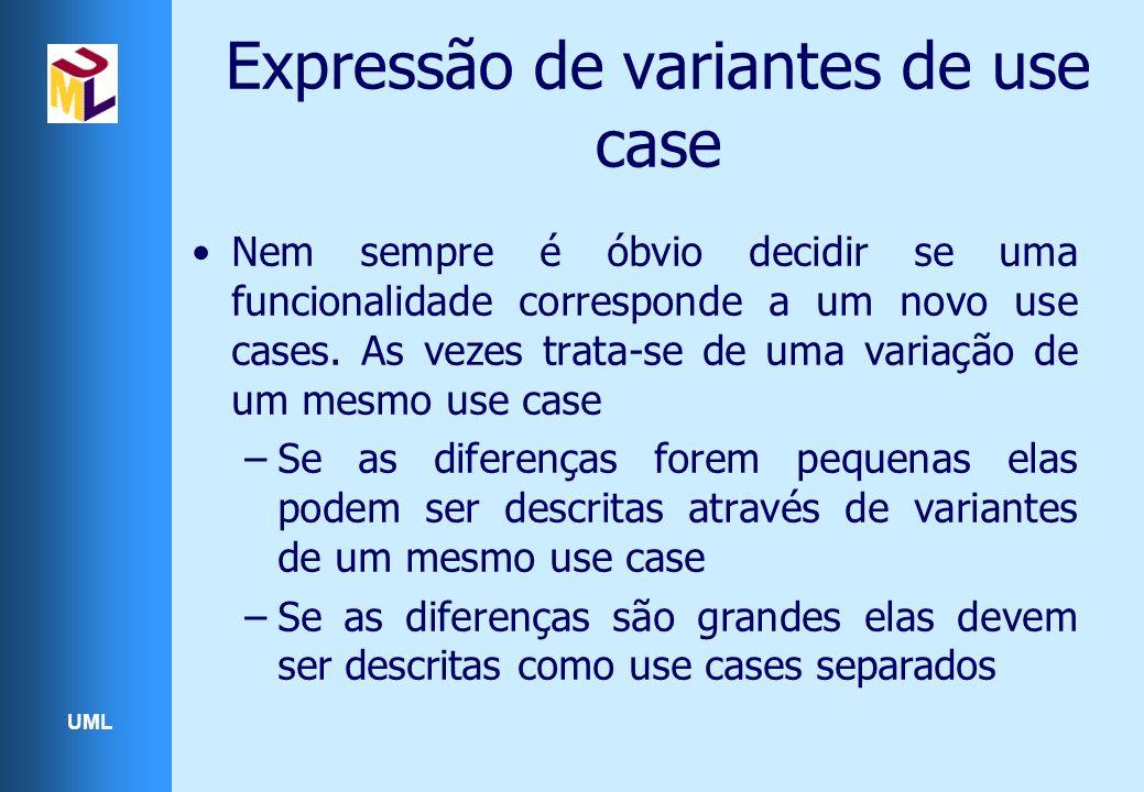 UML Expressão de variantes de use case Nem sempre é óbvio decidir se uma funcionalidade corresponde a um novo use cases. As vezes trata-se de uma vari
