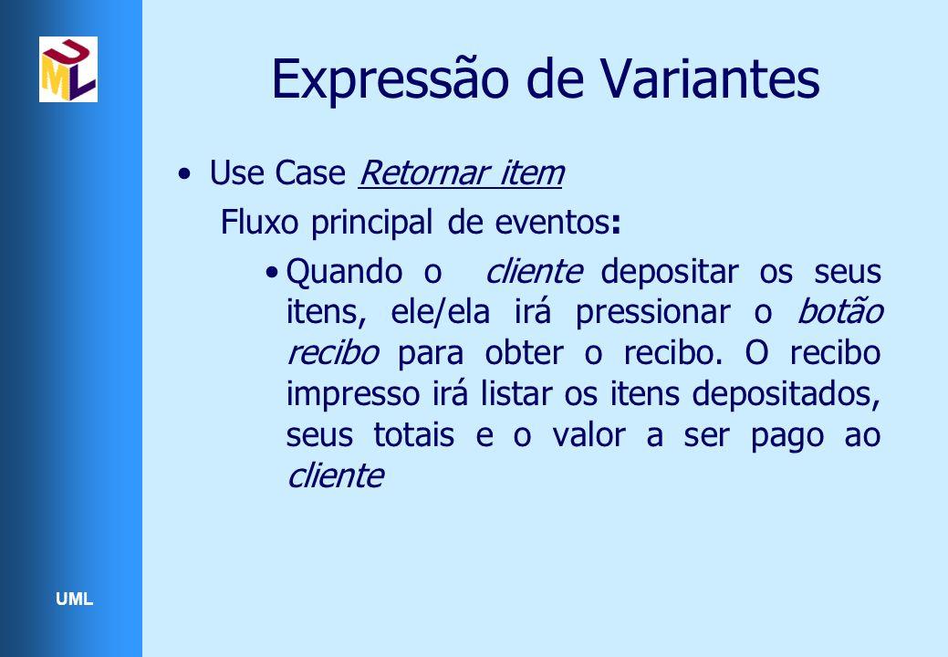 UML Expressão de Variantes Use Case Retornar item Fluxo principal de eventos: Quando o cliente depositar os seus itens, ele/ela irá pressionar o botão recibo para obter o recibo.