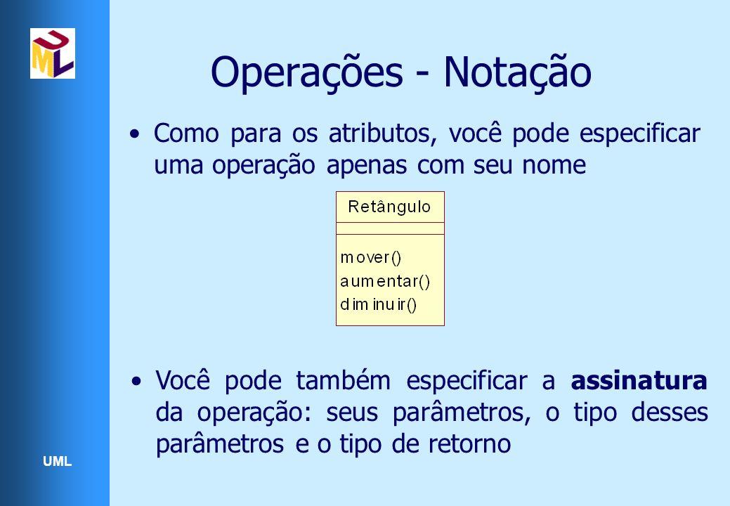 UML Operações - Notação Como para os atributos, você pode especificar uma operação apenas com seu nome Você pode também especificar a assinatura da operação: seus parâmetros, o tipo desses parâmetros e o tipo de retorno