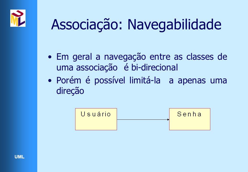 UML Associação: Navegabilidade Em geral a navegação entre as classes de uma associação é bi-direcional Porém é possível limitá-la a apenas uma direção