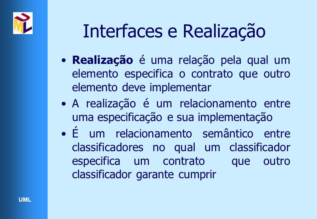 UML Interfaces e Realização Realização é uma relação pela qual um elemento especifica o contrato que outro elemento deve implementar A realização é um relacionamento entre uma especificação e sua implementação É um relacionamento semântico entre classificadores no qual um classificador especifica um contrato que outro classificador garante cumprir