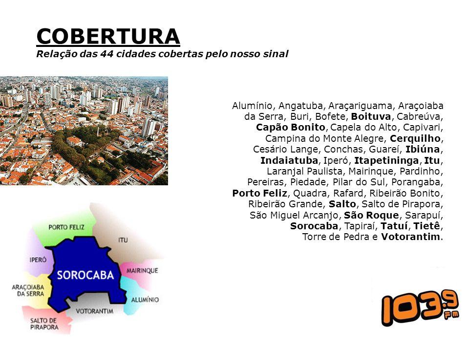 COBERTURA Relação das 44 cidades cobertas pelo nosso sinal Alumínio, Angatuba, Araçariguama, Araçoiaba da Serra, Buri, Bofete, Boituva, Cabreúva, Capã