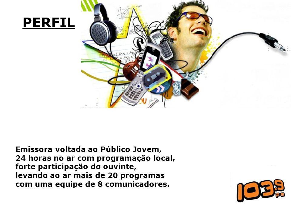 PERFIL Emissora voltada ao Público Jovem, 24 horas no ar com programação local, forte participação do ouvinte, levando ao ar mais de 20 programas com