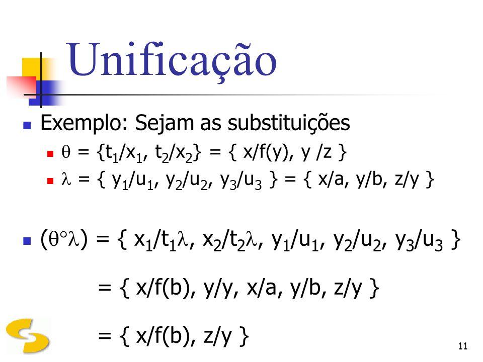 11 Unificação Exemplo: Sejam as substituições = {t 1 /x 1, t 2 /x 2 } = { x/f(y), y /z } = { y 1 /u 1, y 2 /u 2, y 3 /u 3 } = { x/a, y/b, z/y } ( ) =
