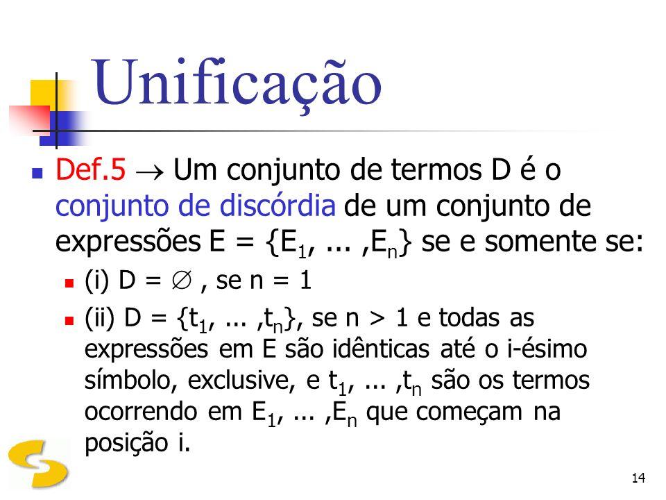 14 Unificação Def.5 Um conjunto de termos D é o conjunto de discórdia de um conjunto de expressões E = {E 1,...,E n } se e somente se: (i) D =, se n =