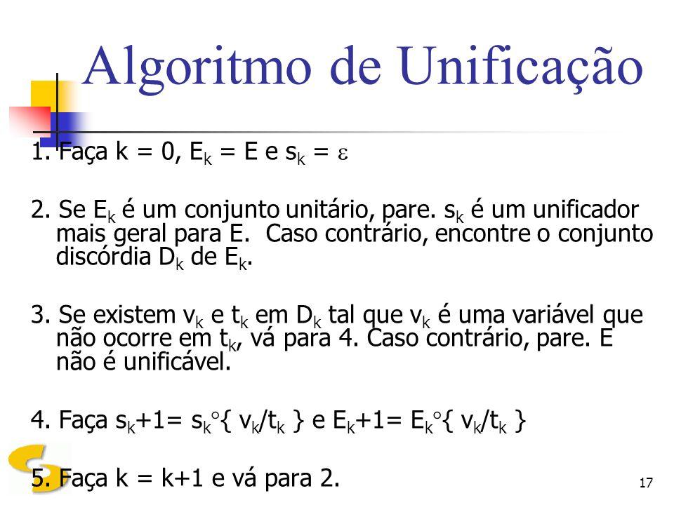 17 Algoritmo de Unificação 1. Faça k = 0, E k = E e s k = 2. Se E k é um conjunto unitário, pare. s k é um unificador mais geral para E. Caso contrári