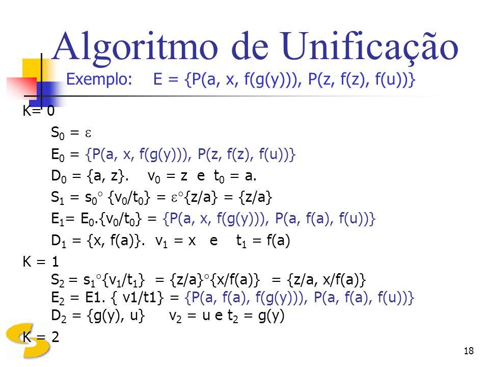 18 Algoritmo de Unificação Exemplo: E = {P(a, x, f(g(y))), P(z, f(z), f(u))} K= 0 S 0 = E 0 = {P(a, x, f(g(y))), P(z, f(z), f(u))} D 0 = {a, z}. v 0 =