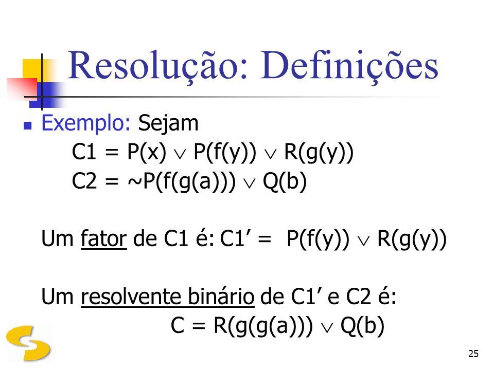 25 Resolução: Definições Exemplo: Sejam C1 = P(x) P(f(y)) R(g(y)) C2 = ~P(f(g(a))) Q(b) Um fator de C1 é:C1 = P(f(y)) R(g(y)) Um resolvente binário de