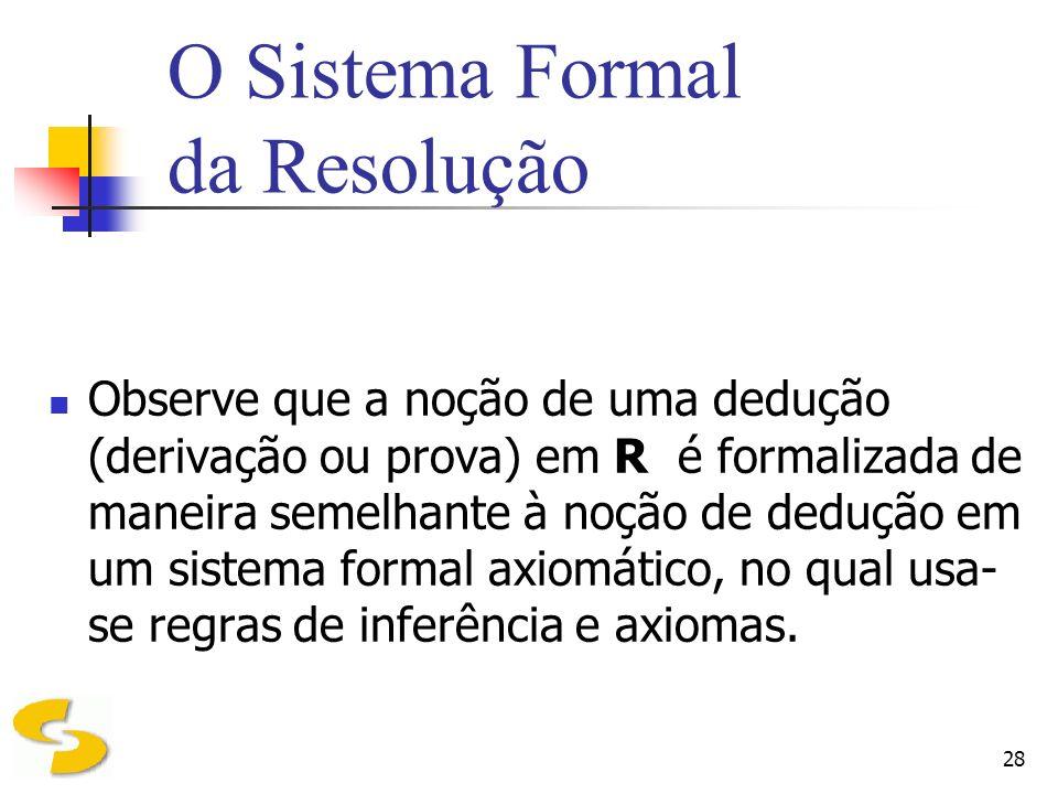 28 O Sistema Formal da Resolução Observe que a noção de uma dedução (derivação ou prova) em R é formalizada de maneira semelhante à noção de dedução e