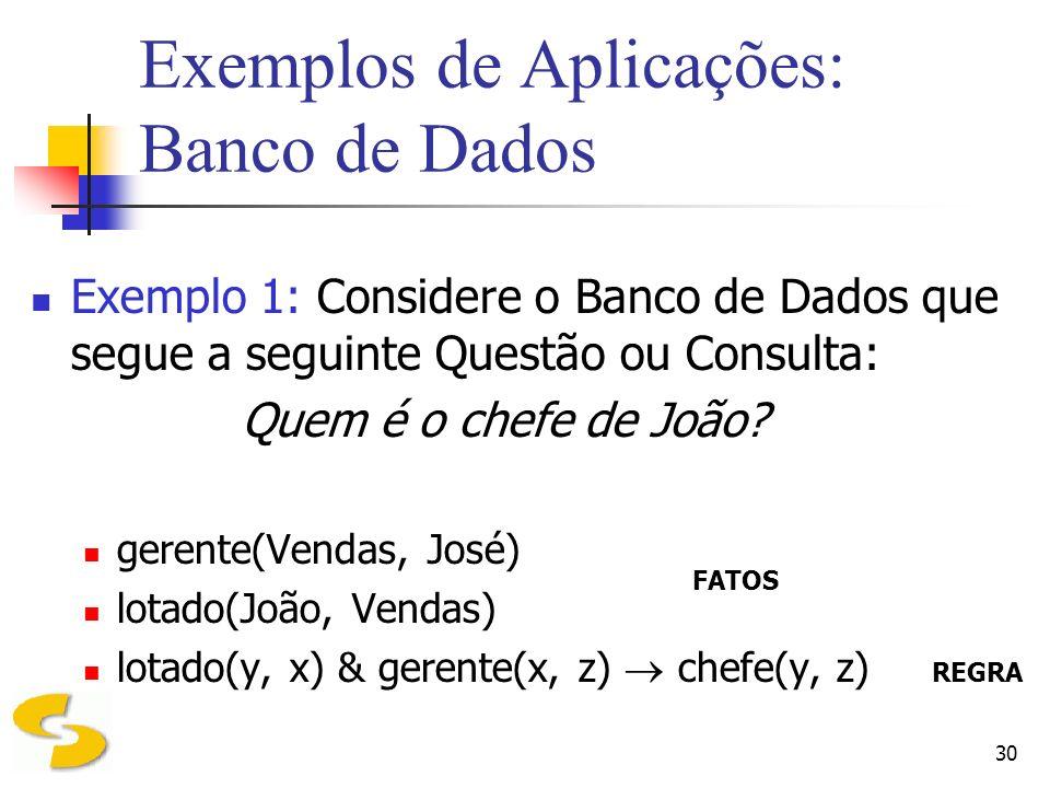 30 Exemplos de Aplicações: Banco de Dados Exemplo 1: Considere o Banco de Dados que segue a seguinte Questão ou Consulta: Quem é o chefe de João? gere