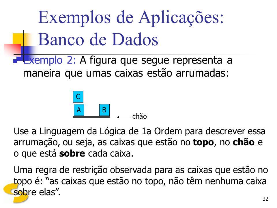32 Exemplos de Aplicações: Banco de Dados Exemplo 2: A figura que segue representa a maneira que umas caixas estão arrumadas: C AB chão Use a Linguage