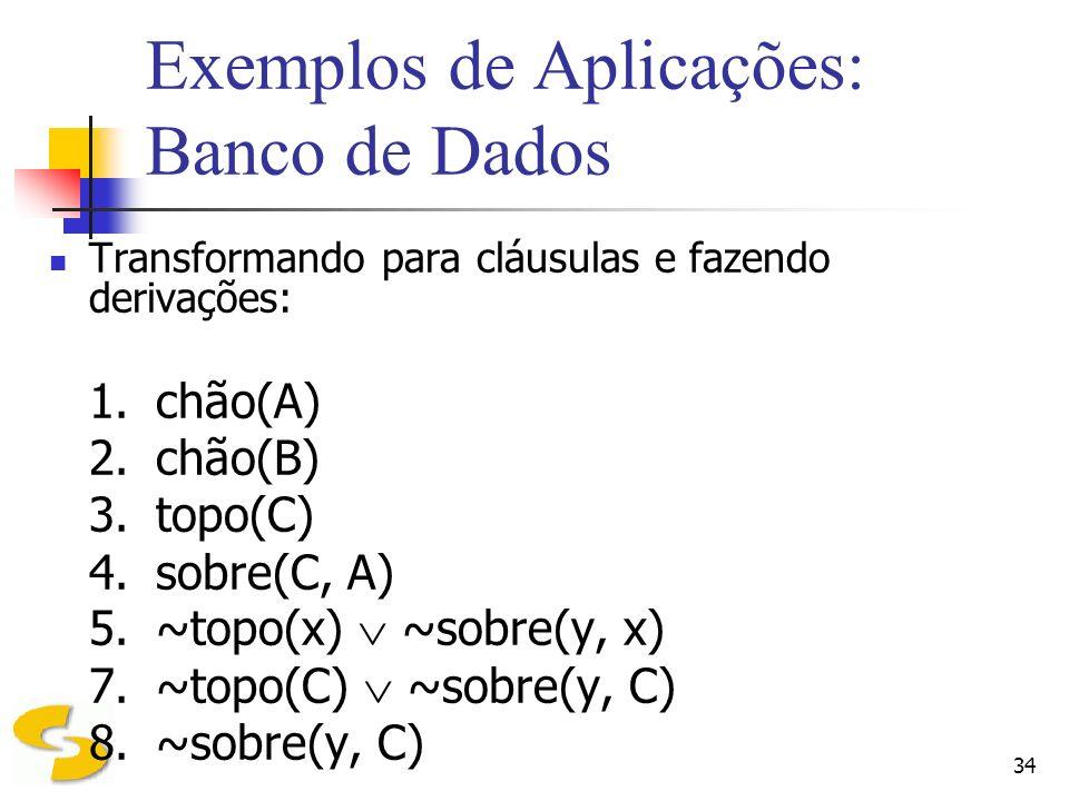 34 Exemplos de Aplicações: Banco de Dados Transformando para cláusulas e fazendo derivações: 1.chão(A) 2.chão(B) 3.topo(C) 4.sobre(C, A) 5.~topo(x) ~s