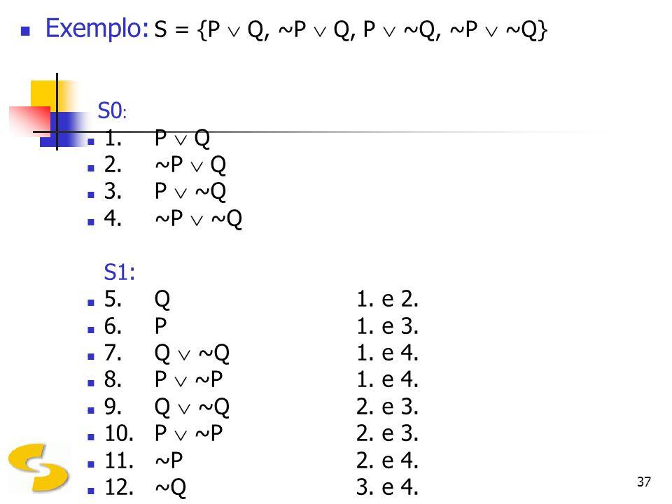 37 Exemplo: S = {P Q, ~P Q, P ~Q, ~P ~Q} S0 : 1. P Q 2.~P Q 3.P ~Q 4.~P ~Q S1: 5.Q1. e 2. 6.P1. e 3. 7.Q ~Q1. e 4. 8.P ~P1. e 4. 9.Q ~Q2. e 3. 10.P ~P