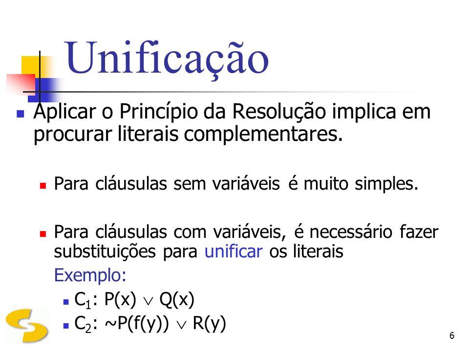 6 Unificação Aplicar o Princípio da Resolução implica em procurar literais complementares. Para cláusulas sem variáveis é muito simples. Para cláusula
