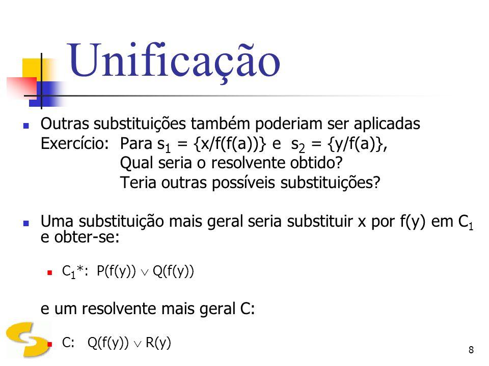 8 Unificação Outras substituições também poderiam ser aplicadas Exercício: Para s 1 = {x/f(f(a))} e s 2 = {y/f(a)}, Qual seria o resolvente obtido? Te