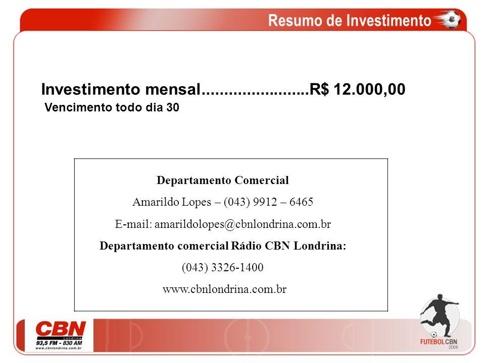 Resumo de Investimento Departamento Comercial Amarildo Lopes – (043) 9912 – 6465 E-mail: amarildolopes@cbnlondrina.com.br Departamento comercial Rádio