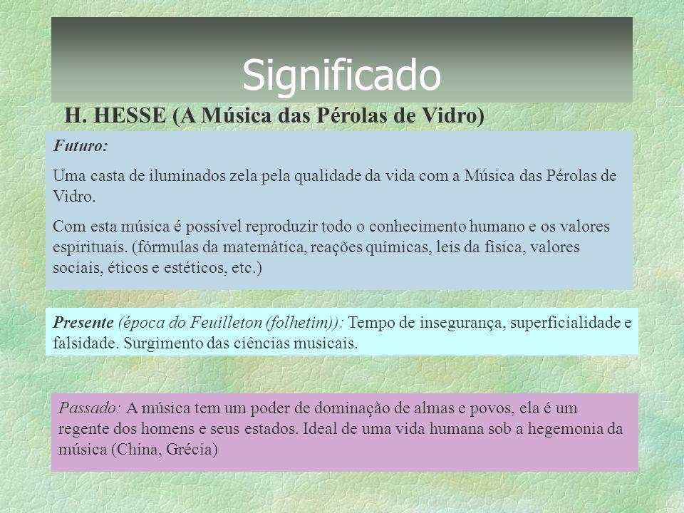 Significado H. HESSE (A Música das Pérolas de Vidro) Futuro: Uma casta de iluminados zela pela qualidade da vida com a Música das Pérolas de Vidro. Co