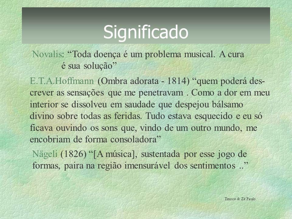 Significado Novalis: Toda doença é um problema musical. A cura é sua solução E.T.A.Hoffmann (Ombra adorata - 1814) quem poderá des- crever as sensaçõe